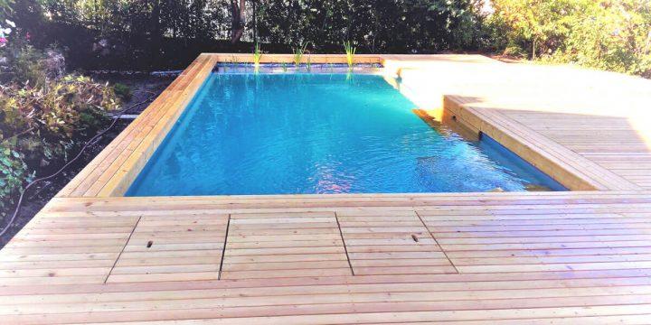 Holz: Planung und Umsetzung eines Holzstegs um einen Bio-Pool.
