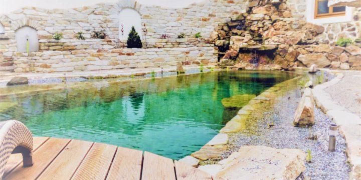Wasser: Schwimmteich im historischen Innenhof
